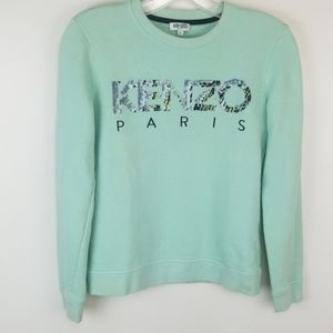 Kenzo Paris Roseau Mint Green Sequin Sweatshirt